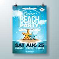 Diseño del aviador del partido del verano del vector con las estrellas de mar y la isla tropical en fondo del azul de océano. Plantilla de diseño de celebración de vacaciones de verano