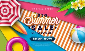 Diseño de la venta del verano con la bola de Beac, la sombrilla y las hojas de palma exóticas en fondo colorido. Vector tropical oferta especial ilustración con tipografía letra