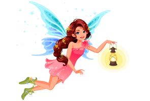 Cute little fairy holding a lantern