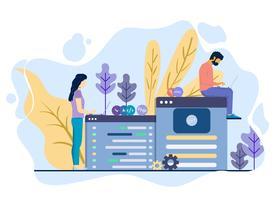 Hombres y mujeres desarrollan un sitio web juntos. vector