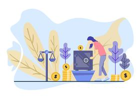 Women invest her money in the box. Vector Illustration