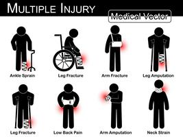 Multiple injury set . Ankle sprain . Leg fracture . Arm fracture . Leg amputation . Leg fracture . Low back pain . Arm amputation . Neck strain . Vector Medical stick man . physical therapy concept .