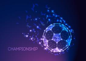 Football championship concept with futuristic soccer ball on dark blue purple gradient background.