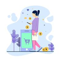 Women buying some goods using her phone. Online shop and ecommerce concept vector