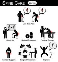 Vector stickman diagram . pictogram . infographic of spine care concept
