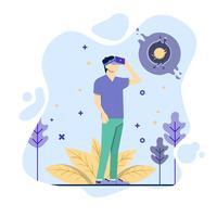 Hombres jugando a la realidad virtual y hacer nuevo mundo. vector