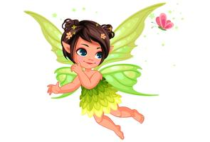 Beautiful little nature fairy flying