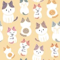 Cartoon cute sweet cat seamless pattern vector.