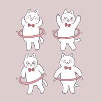 Cartoon cute cat playing hula hoop vector.