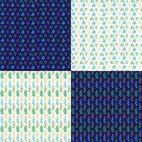 naadloze vector bladpatronen met blauw en wit