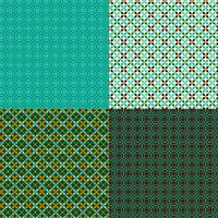 seamless geometric patterns with blue and green vector