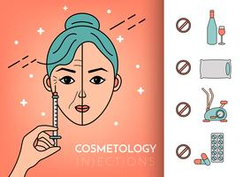 Cosmetic injections. Infographics