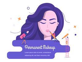 Woman putting makeup on vector