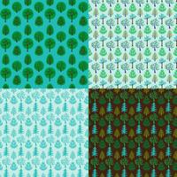 seamless vector tree background patterns