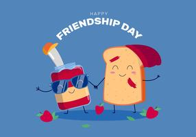 Grappig Voedsel Karakter Vier Vriendschapsdag
