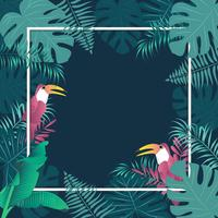 Summer tropical banner palm leaves birds vector image.