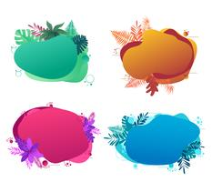 Banner template design, with liquid abstract geometric bubble with tropical flowers.