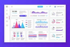 Dashboard admin panel vector design template with infographic elements, chart, diagram, info graphics. Website dashboard for ui and ux design web page. Vector illustration.