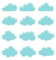 Icono de nubes, ilustración vectorial, colección de formas de nubes