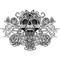 grunge skull coat of arms vector