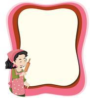 Een huisvrouw op notitiesjabloon