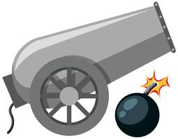 A cannon on white background vector
