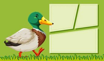 Eine Ente auf Notizvorlage