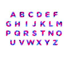 abstract colorful alphabet with modern neon color