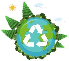 A recycle logo on nature globe