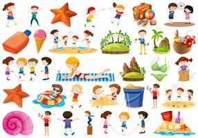 Set of summer vacation element