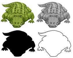 Sats med krokodil karaktär