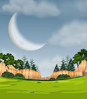 Escena de la naturaleza de luna llena
