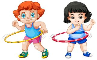 Conjunto de niños jugando hula hoop