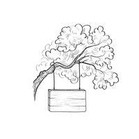 Enseigne sur une branche d'arbre. Panneau en bois Doodle. Panneau de planche