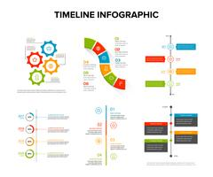 Timeline infographics design set with flat style , work flow or process diagram, flowchart, vector illustration