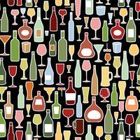 Weinflasche, Weinglasfliesenmuster. Wein trinken Party Hintergrund