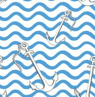 Ocean wave seamless pattern with anchor. Stylish marine water ba