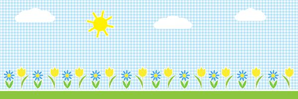 Vector  horizontal background with sun,clouds and flowers