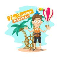 Summer holiday background with summer elements