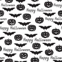 Halloween seamless pattern. Holiday background with bat, pumpkin vector