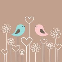 Couple of cute birds with flowers and hearts