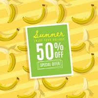 Summer discount on banana background