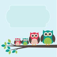Família de coruja bonito com lugar para texto