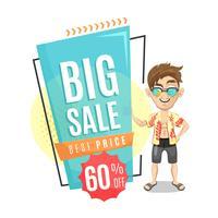 Summer sale banner with men