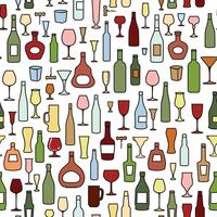 Wine bottle, wine glass tile pattern. Drink wine party background