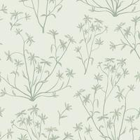 Floral leaves seamless pattern. Wild nature background. Flourish wallpaper with plants.