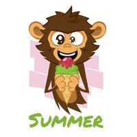 Scimmia che mangia il gelato