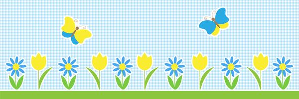 Vector  horizontal background with butterflies and flowers