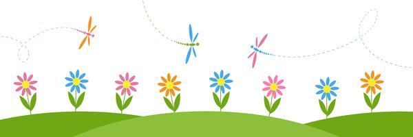 Fond horizontal de vecteur avec des fleurs et des libellules