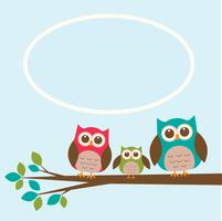 Cute owl family on branch with place for text